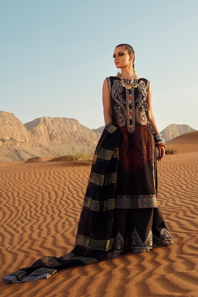 Ethnic Black Suit Embroidered lawn