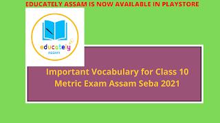 Important Vocabulary for Class 10 Metric Exam Assam Seba 2021