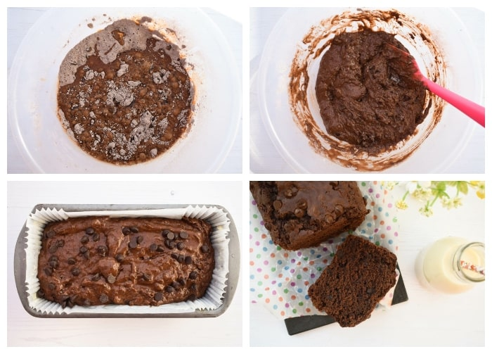 Making vegan chocolate cake - step 4 - wet ingredients mixed into the dry, then poured in the loaf tin