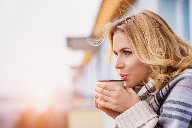 Women drinking healthy tea and enjoying