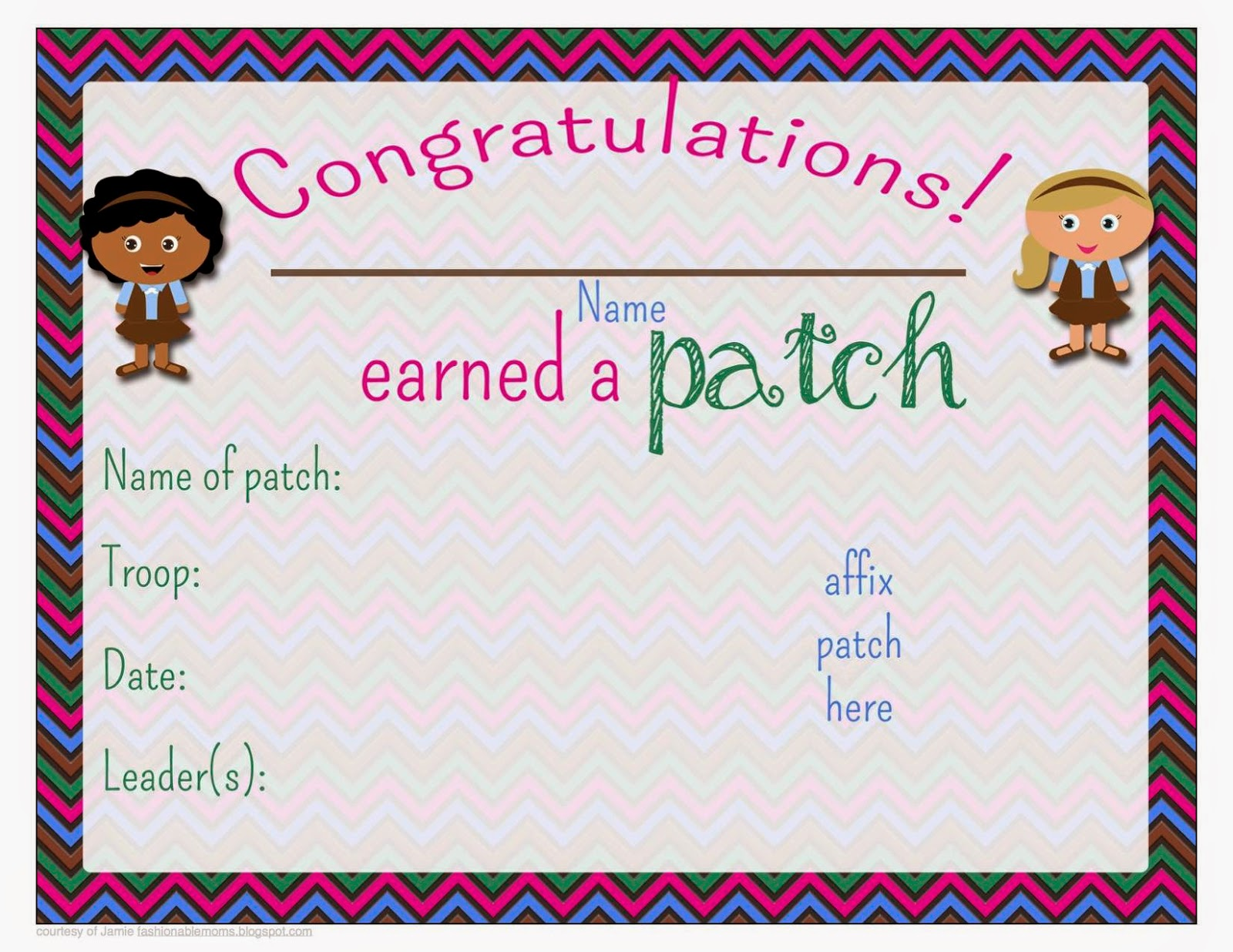 My Fashionable Designs Free Printable Patch Earned