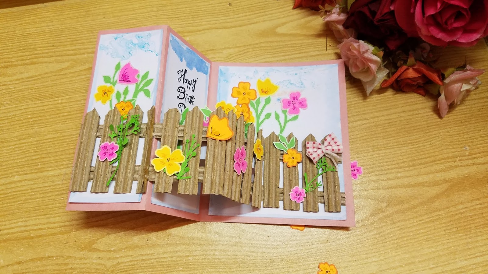 gs craft popup flowery garden happy birthday greeting