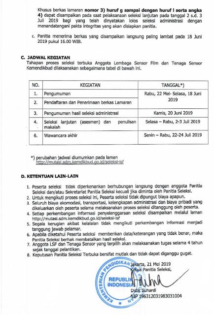 Pengumuman Seleksi Terbuka Calon Anggota dan Tenaga Sensor Lembaga Sensor Film (LSF) Indonesia Tahun 2019