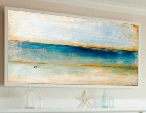 Ocean Painting on Reclaimed Wood