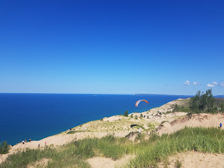lake michigan from the top of a sand dune