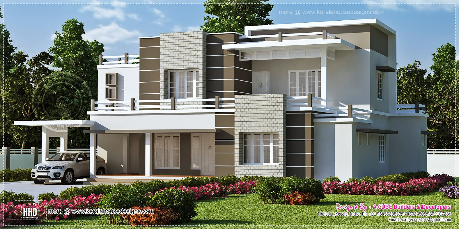 Beautiful sober color contemporary home design kerala for Contemporary modern style house plans