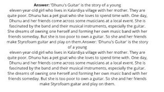 Dhunu's Guitar Questions and Answers | Class 7 | Lesson 6 | English