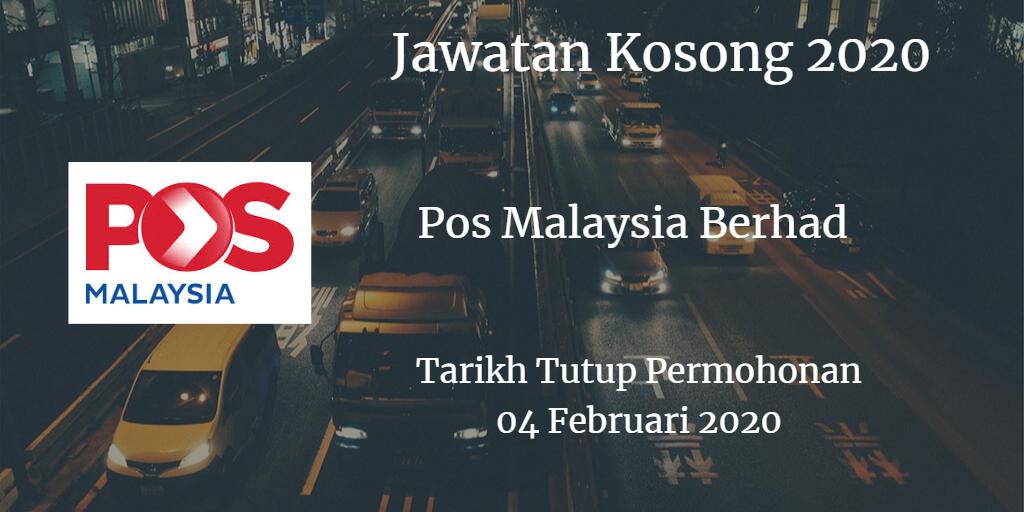 Jawatan Kosong Pos Malaysia Berhad 04 Februari 2020