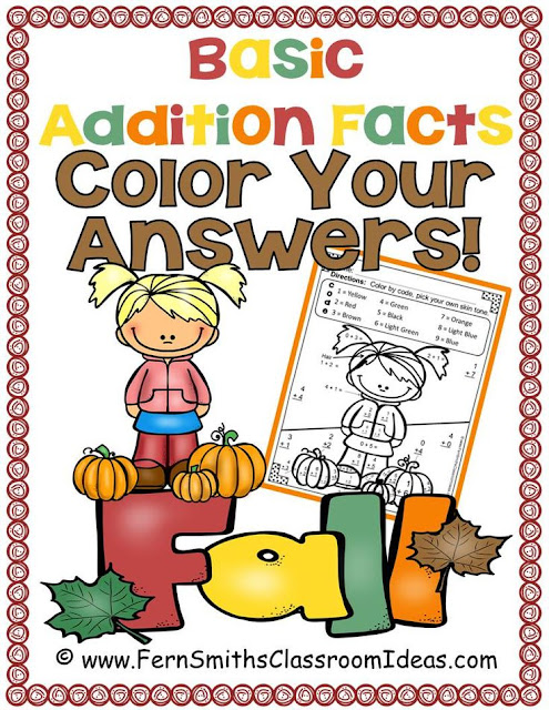 Fern Smith's Classroom Ideas Fall Fun! Addition color your answers printables at teacherspayteachers.