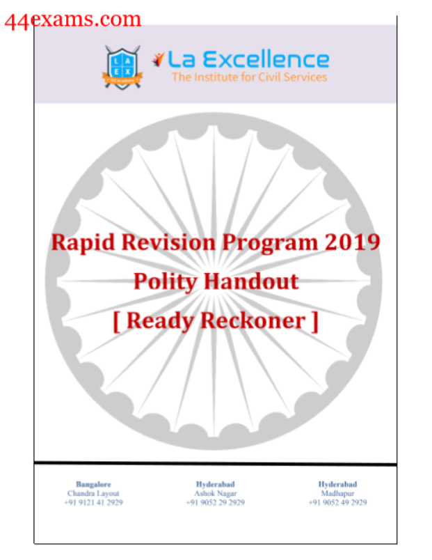 Rapid Revision Program 2019 Polity Handout : For UPSC Exam PDF Book
