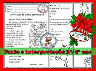 3º ano, 4º ano, Texto e Interpretação para o 3º ano, Texto e interpretação para o 4º ano, Texto para leitura e interpretação sobre o Natal, Amorensina, Alfabetizar com amor,