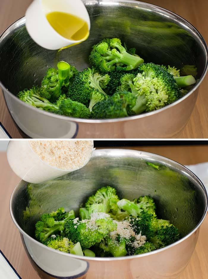 Add olive oil and breadcrumbs to broccoli