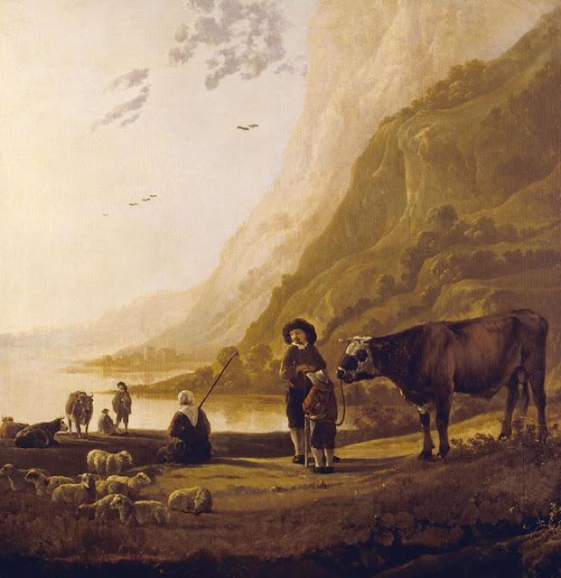 Альберт Кёйп - Пейзаж с пастухом и быком