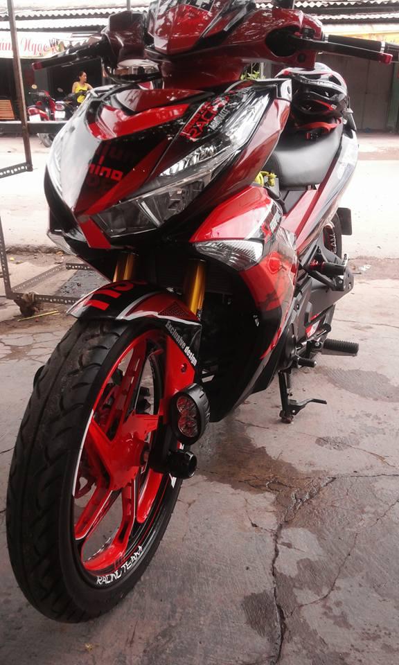 Sơn tem đấu xe Exciter 150 đỏ đen cực đẹp