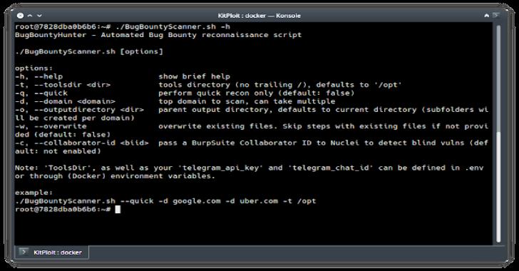 BugBountyScanner : A Bash Script & Docker Image For Bug Bounty Reconnaissance