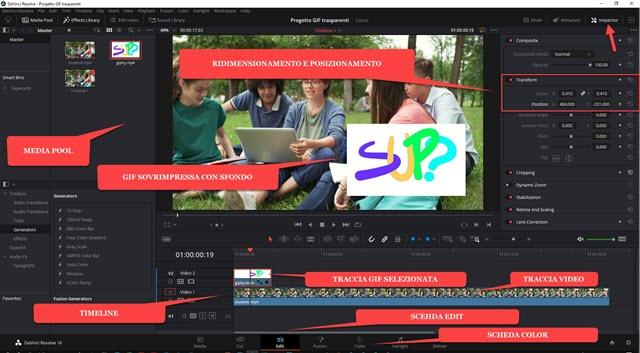interfaccia di davinci resolve con video e gif