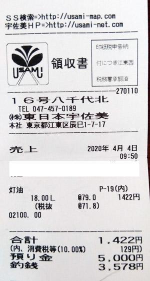 出光興産 東日本宇佐美 16号線八千代北SS 2020/4/4 のレシート