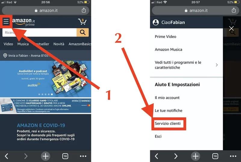 accesso alle impostazioni dell'account amazon da browser mobile