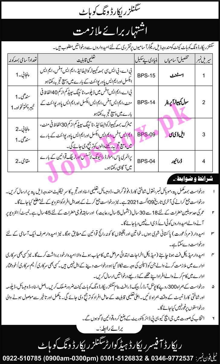 Pakistan Army Jobs Latest – Signals Record Wing  Jobs 2021