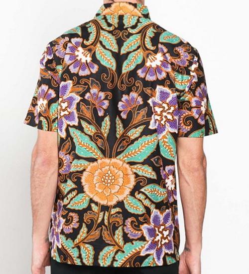 Tinuku Batik shirt short-sleeve men's classic motifs of bright leaves and flowers