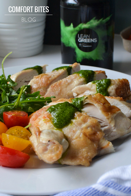 Roasted Chicken with Hidden Greens Pesto