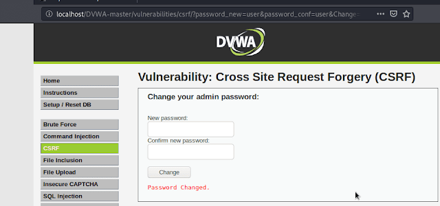 CSRF (Cross-site Request Forgery) in DVWA (Low)