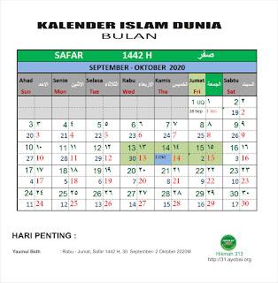 Kalender Islam Bersatu  Bulan Safar 1422 H
