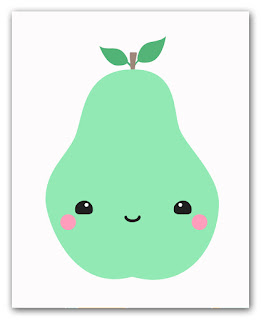 kawaii pear art print