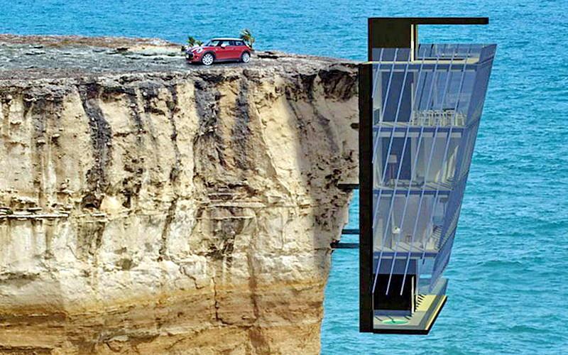 Cliff house una impactante casa suspendida en la orilla for Cliff hanging homes