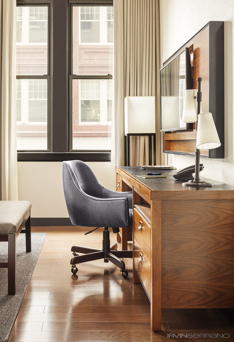 1920's inspired writer's desks are found in guestrooms at the Press Hotel, the former Press Herald building, in Portland, Maine.