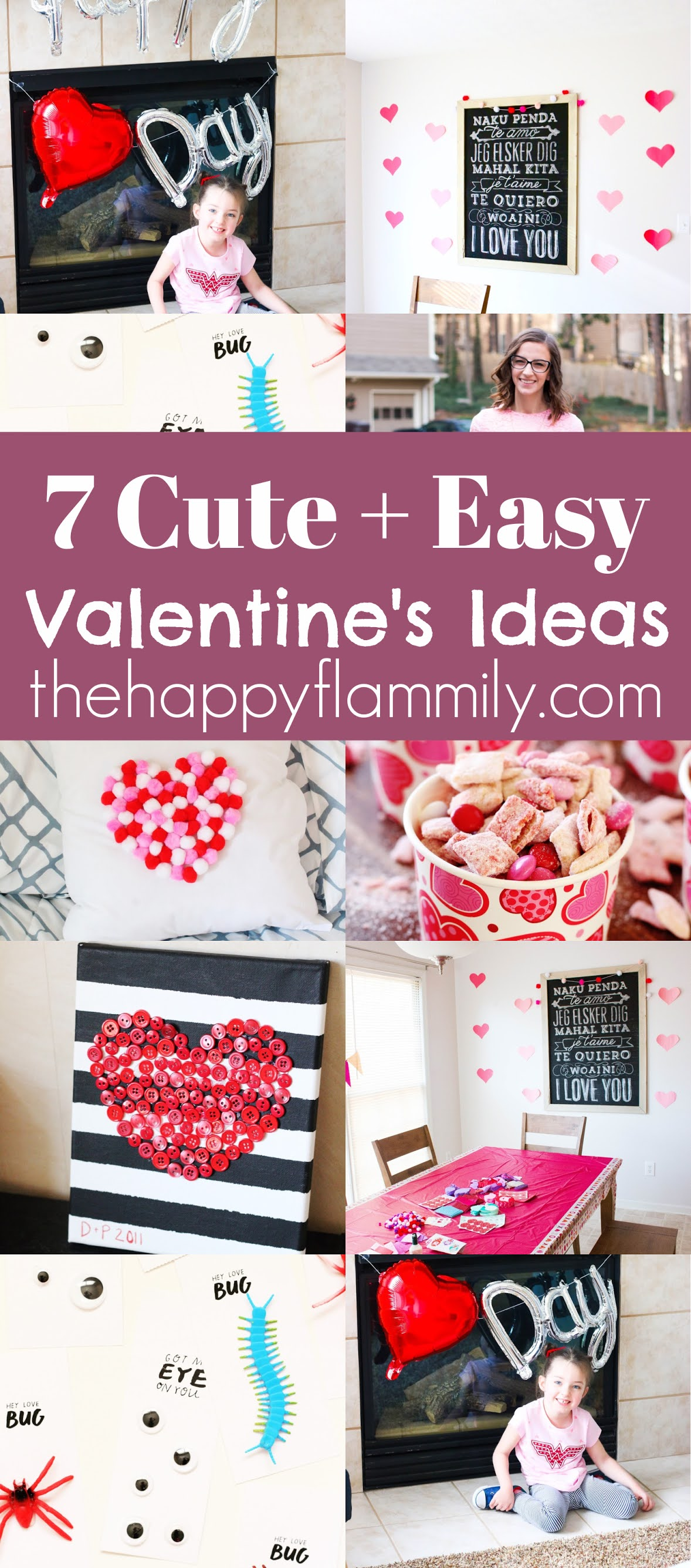 Seven cute Valentine's ideas. Easy Valentine's day ideas. DIY Valentine's card ideas. Valentines ideas for kids. How tot celebrate valentines with kids. Ways to celebrate Valentines day. Valentine's day DIY. Valentine's decor ideas. #February #valentines #party #kids #crafts #familyfun