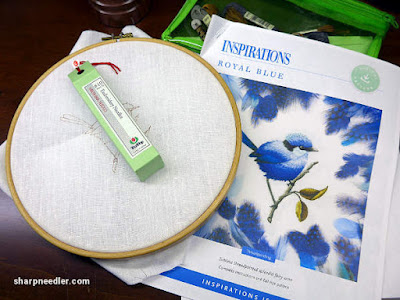 Preparing to stitch: Tulip needles, Graziano Italian linen ground fabric, and the downloaded instructions for Royal Blue