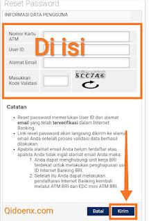 Reset id password internet banking bank bri