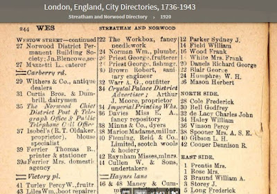 "1920 Streatham Directory - 37 Westow Street - occupied by ""Isobel's"" (likely a business name) - proprietor is R.T. Oldaker, blouse specialist"