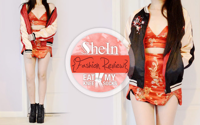 In part 3 of my back-to-back(-to-back?) SheIn fashion reviews, I'll be reviewing an oriental-style black, red, and gold floral embroidered bomber jacket, with a convertible style that gives it the effect of two jackets in one! - Eat My Knee Socks/Mimchikimchi