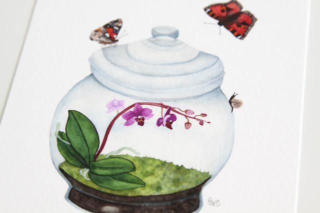 paper comparison, art print, archival print, watercolor, watercolor terrarium, orchid, Anne Butera, My Giant Strawberry