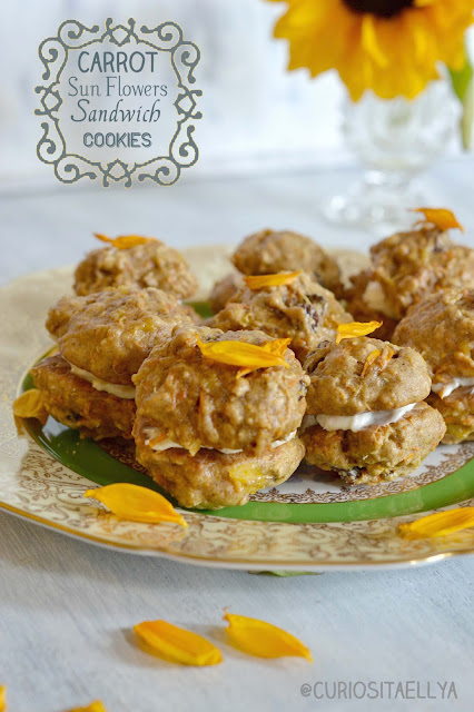 Carrot Sunflower Sandwich Cookies