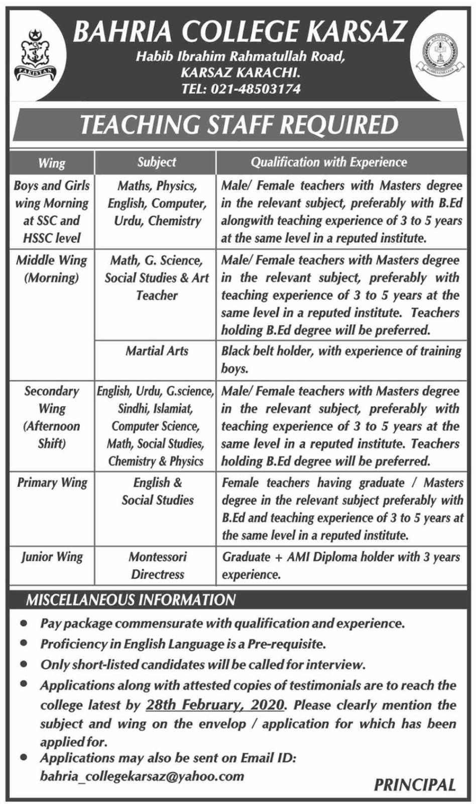 Bahria College Teaching Jobs 2020 in Karachi