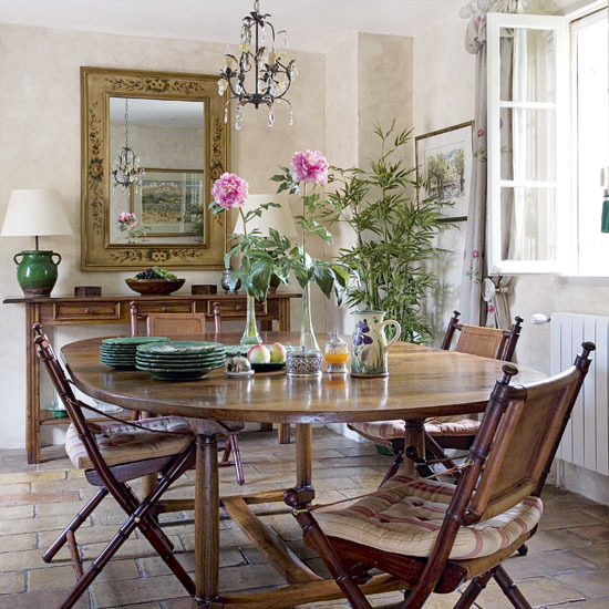 Country Style Dining Room Furniture: New Home Interior Design: Traditional Dining Room