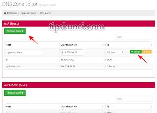 konfigurasi dns google blogspot di idhostinger
