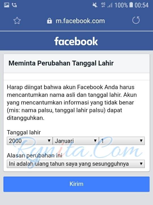 Cara mengganti tanggal lahir di facebook yang tidak bisa diganti lebih dari 2 kali