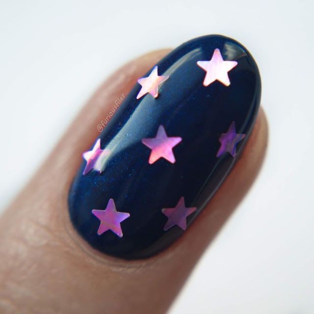 metallic blue pink stars 90s nail art furious filer