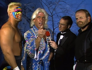 WCW Halloween Havoc 1989 -  Ric Flair teamed with Sting to face The Great Muta and Terry Funk