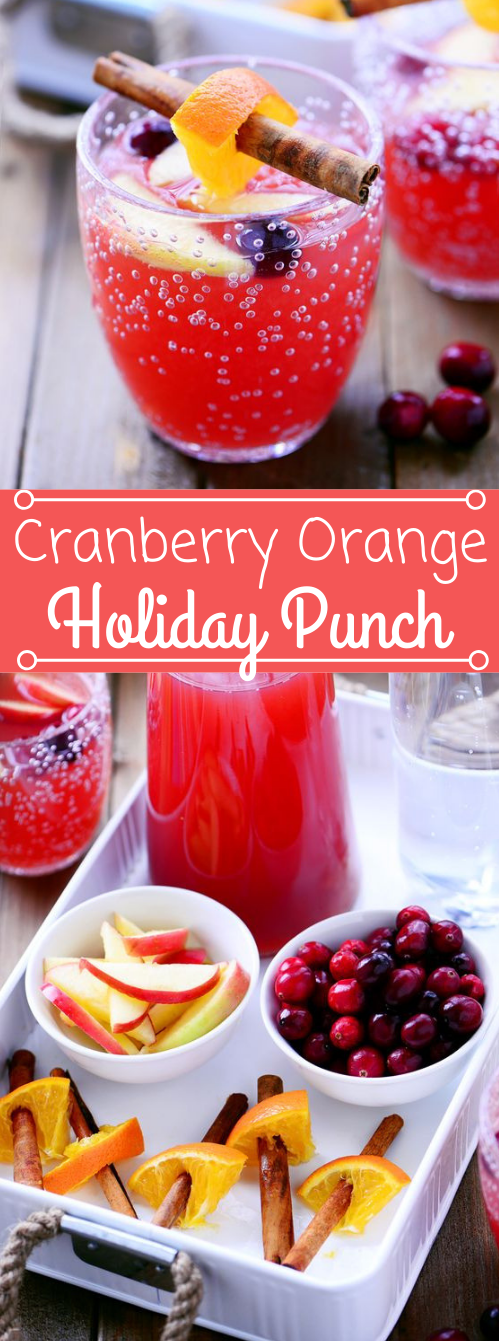 Cranberry Orange Holiday Punch #orange #drink #lemonade #sangria #cocktail