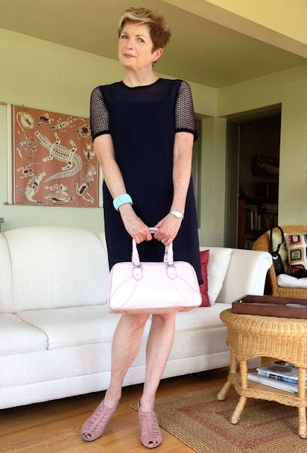 Rag and Bone Luna shift dress, Munro sandals, Cole Haan bag