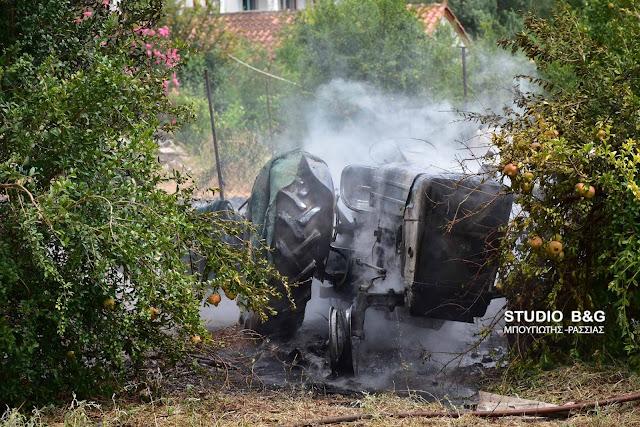 Κάηκε ολοσχερώς τρακτέρ στο Δρέπανο Αργολίδας (βίντεο)