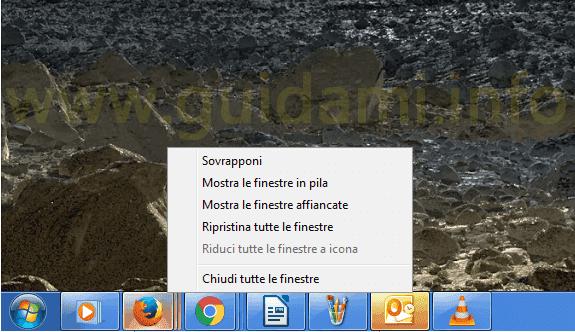 Barra delle applicazioni di Windows 7