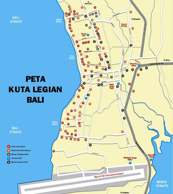 Gambar Peta Kuta Legian Bali