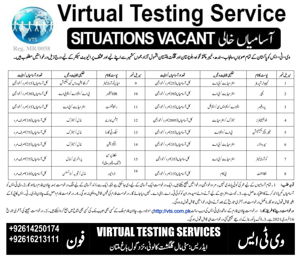 2580 Posts for Virtual Testing Service VTS Jobs 2021 Application Form for Invigilators, Teachers, Computer Operators, Coordinators, Managers, HR Officers, Security Guards & Others
