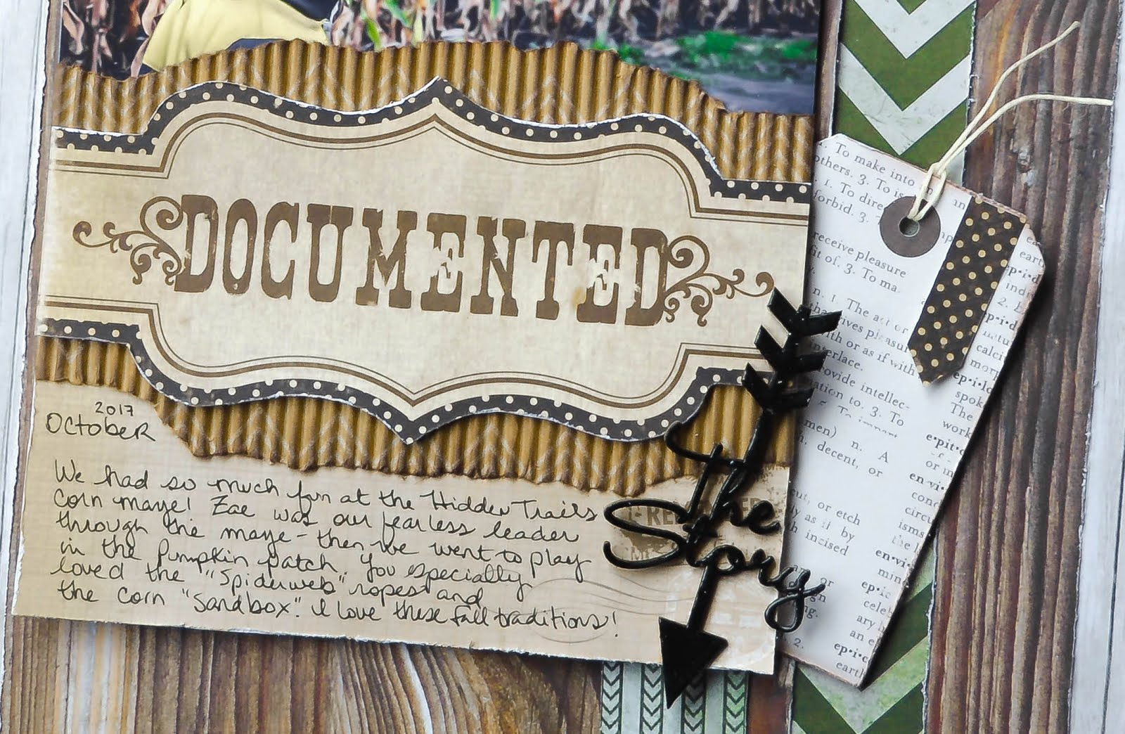 Rustic masculine autumn boy scrapbook page layout in gray, brown, green, and black, on wood panel and wood grain background, with green chevron patterned paper, corrugated cardboard, Blue Fern Studios chipboard, heat embossing, tag, and journaling for CSI design team case file  242